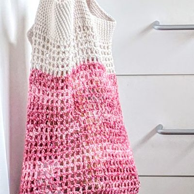 crochet market bag in the kitchen