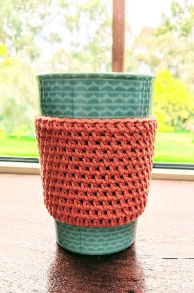 orange crochet cup cozy