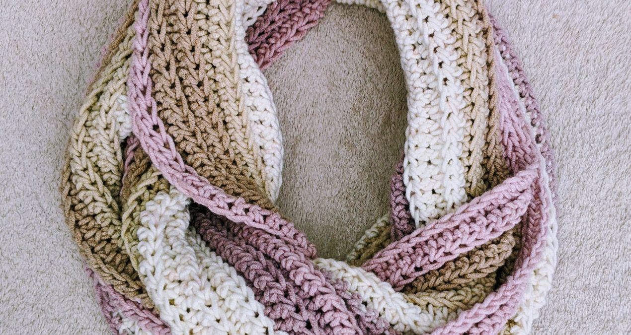 Crochet Knit-Look Infinity Scarf