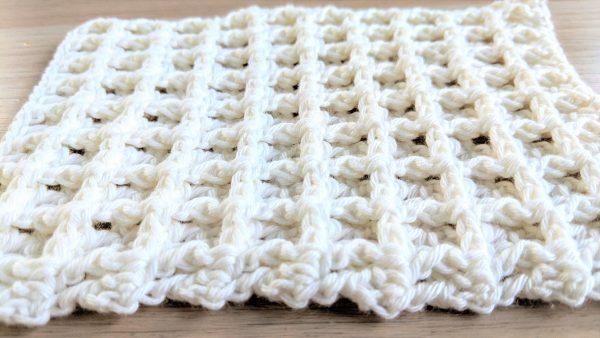 white crochet waffle stitch cloth