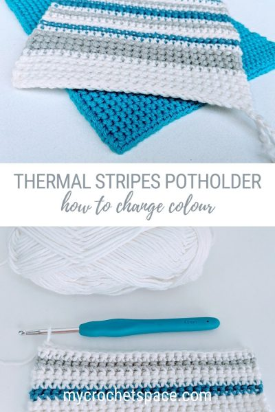 Thermal stripes crochet potholder. How to crochet extra thick potholder