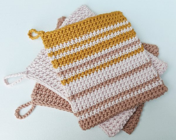 crochet stripes in thermal stitch potholder.