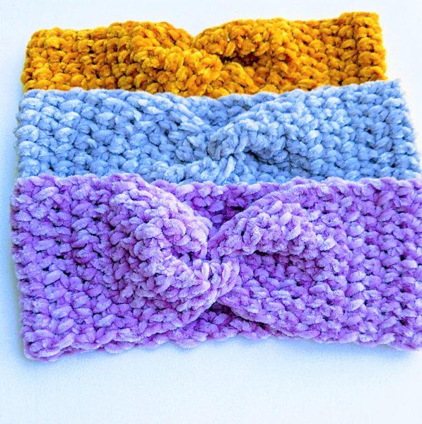crochet twisted ear warmers