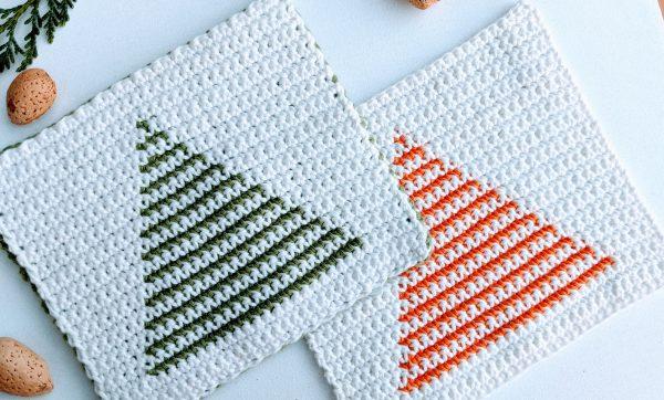 two crochet christmas tree potholders