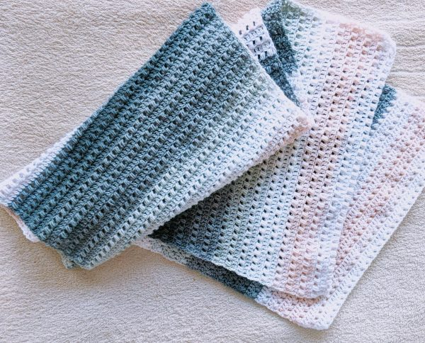 crochet wrap with stripes of colour