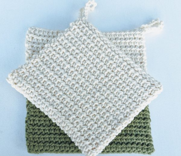 crochet potholders in green and natural white