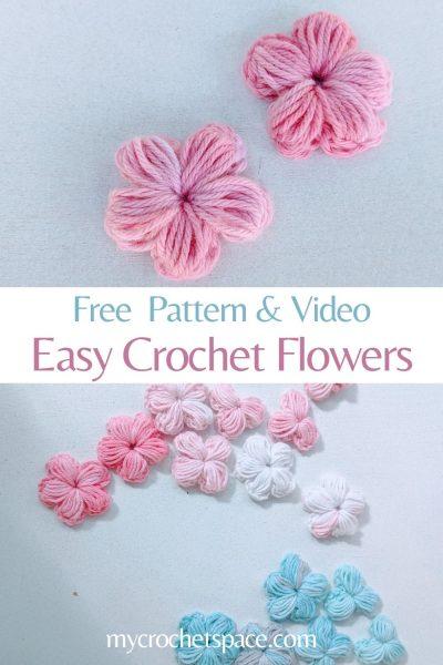 crochet fleurs en rose et bleu sur fond blanc