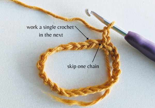 crochet chain joined in round and hook