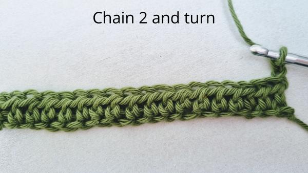 start of row 2 half double crochets