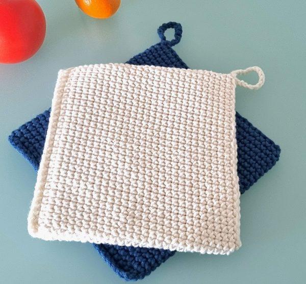 blue and white crochet potholders