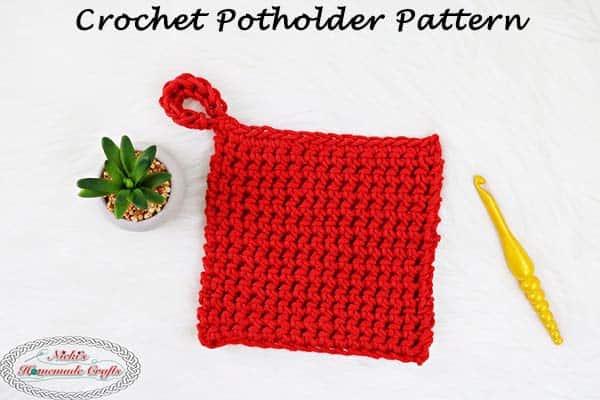 red crochet potholder
