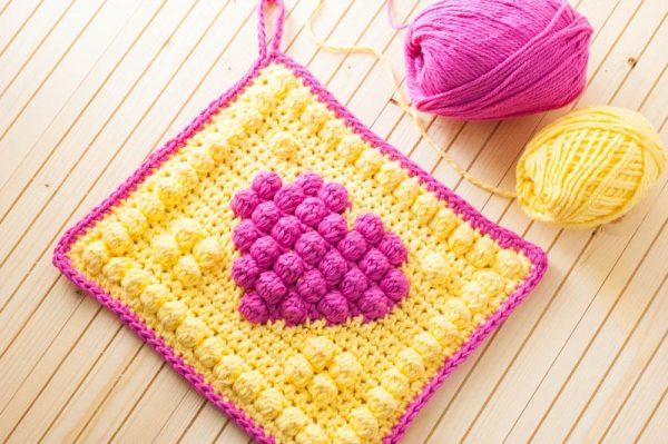 pink and yellow heart crochet potholder