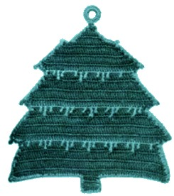 christmas tree crochet potholder