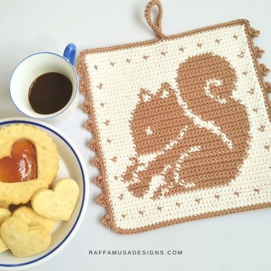 Squirrel crochet potholder