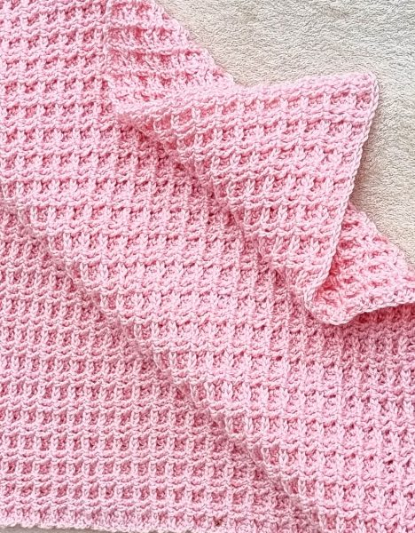 pink crochet waffle stitch blanket