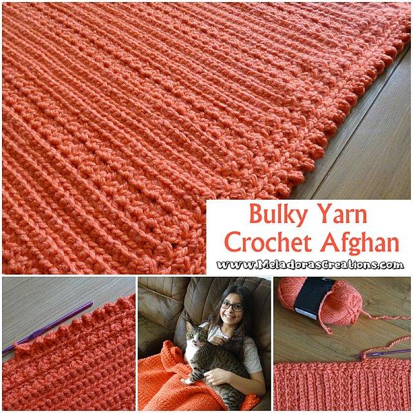orange red coloured chunky crochet blanket