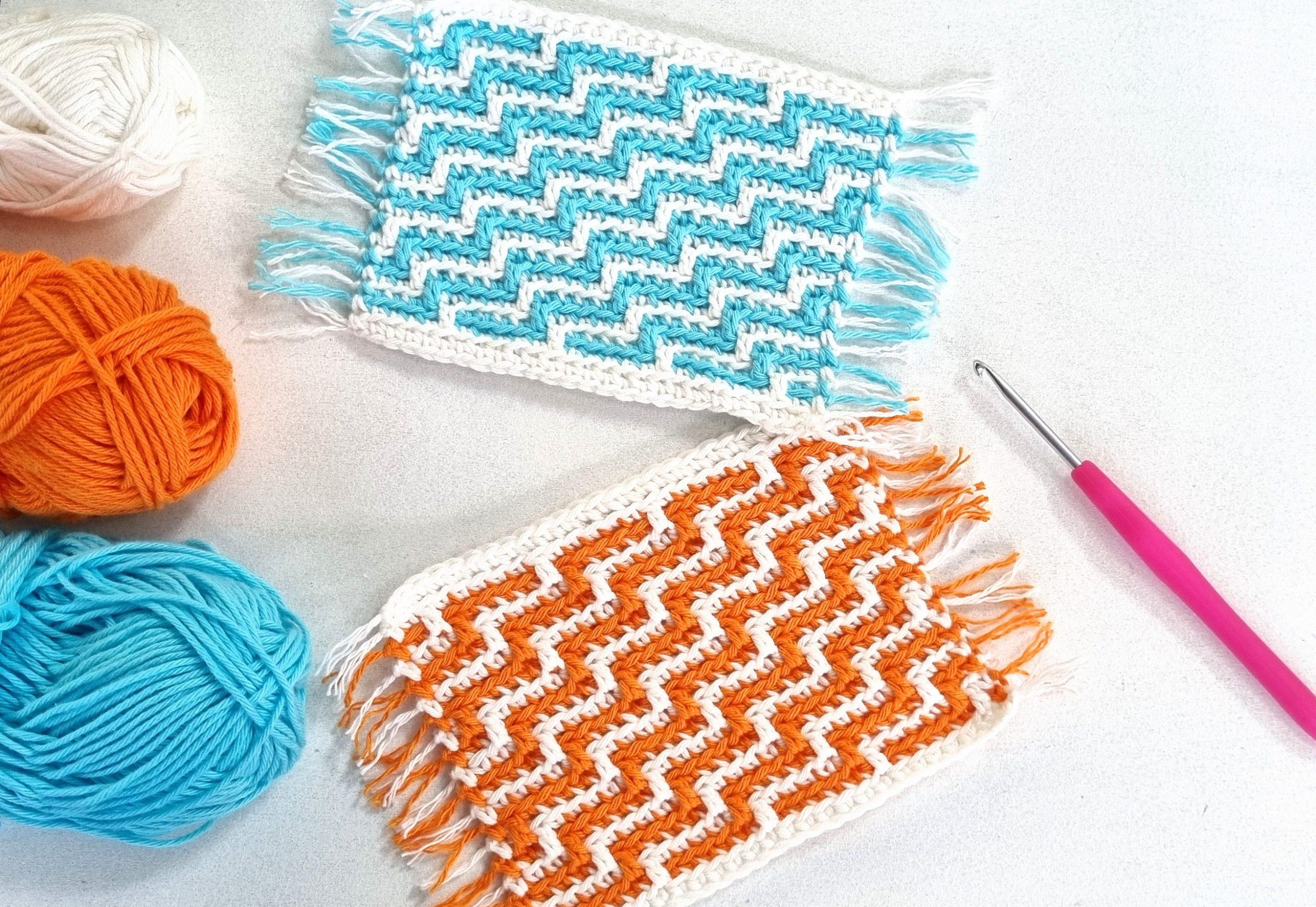 tapis de tasse au crochet bleu et orange Apache Tears