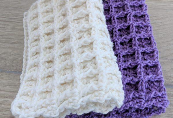 white and purple waffle crochet washcloth