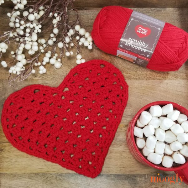 red heart shaped crochet washcloth with deco