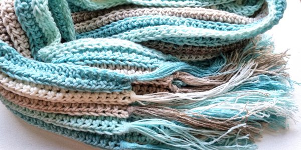 crochet scarf with fringe in blue, beige and white stripes