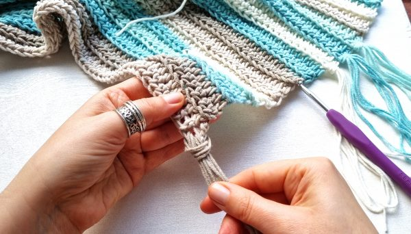 attaching tassels to crochet scarf